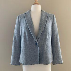 NWT Ann Taylor Grey Herringbone Blazer $169 Sz 12